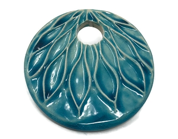 Claycult 55mm Lotus Ceramic Pendant - Egyptian Blue