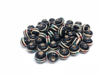 Claycult 8mm Round Ceramic Bead - Tibetan Prayer Beads