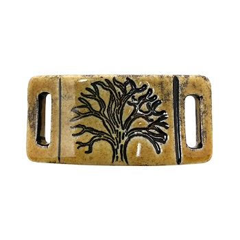 Clay River Porcelain Tree of Life 10mm Flat Bracelet Blank - Gingerbread