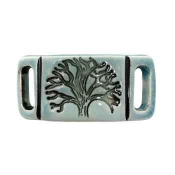 Clay River Porcelain Tree of Life 10mm Flat Bracelet Blank - China Sea
