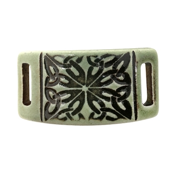 Clay River Porcelain Celtic Knot 10mm Flat Bracelet Blank - Green Tea