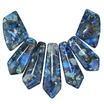 Blue Impression Jasper and Pyrite Pointed 7 Piece Pendant Set