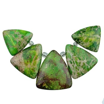Lime Impression Jasper 5-Piece Pendant Set