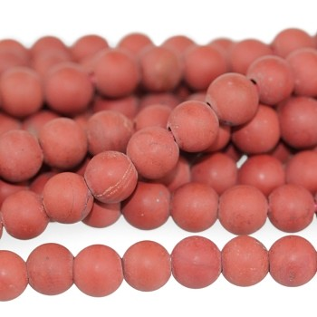 MATTE Red Jasper 8mm Large Hole Round  8