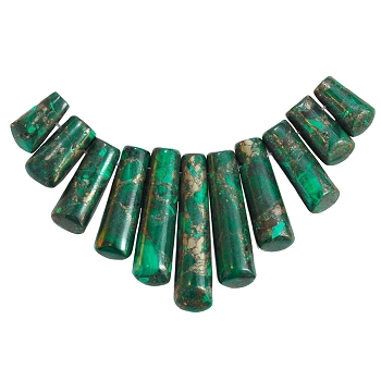 Malachite & Pyrite 15-38mm 11-Piece Ladder  Pendant Set
