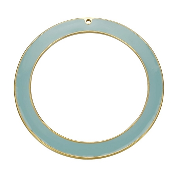 55Mm Ring Pendant Epoxy Gold - Pale Jade - Per 2 Pieces