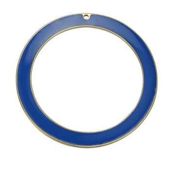 55Mm Ring Pendant Epoxy Gold - Blue - Per 2 Pieces