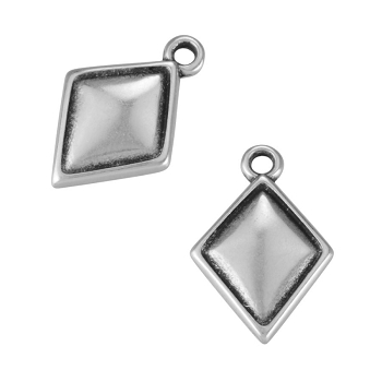 Puffed Diamond Charm Antique Silver - per 10 pieces