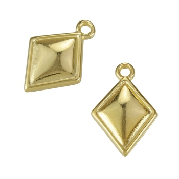 Puffed Diamond Charm Shiny Gold - per 10 pieces