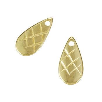 Etched Teardrop Tag Charm Shiny Gold - per 10 pieces