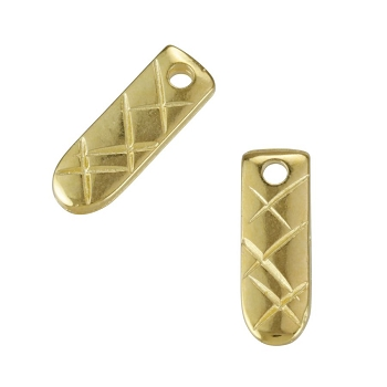 Etched Bar Tag Charm Shiny Gold - per 10 pieces