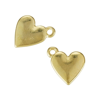 Flat Heart Charm Shiny Gold - per 10 pieces