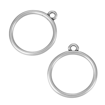 17mm Ring Charm Antique Silver - per 10 pieces