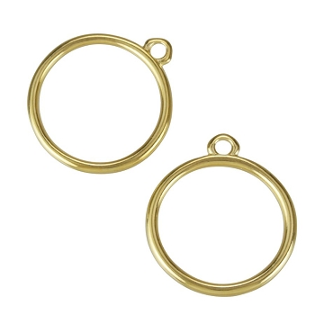 17mm Ring Charm Shiny Gold - per 10 pieces