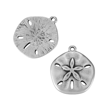 Sand Dollar Charm Antique Silver - per 10 pieces
