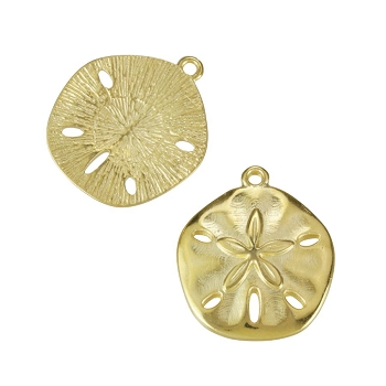 Sand Dollar Charm Shiny Gold - per 10 pieces