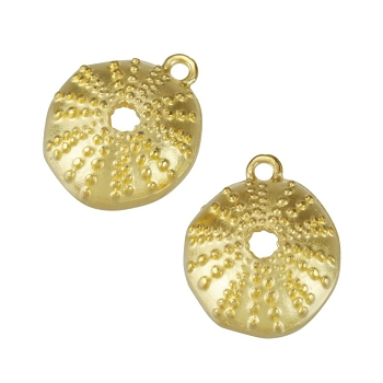 15mm Sea Urchin Charm Shiny Gold - per 10 pieces