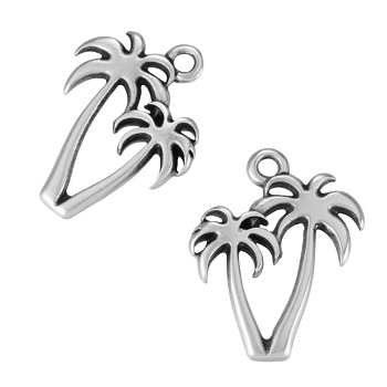 Palm Trees Charm Antique Silver - per 10 pieces