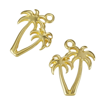 Palm Trees Charm Shiny Gold - per 10 pieces