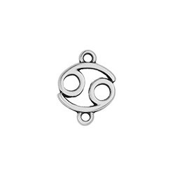 Cancer Zodiac Connector Charm ant silver