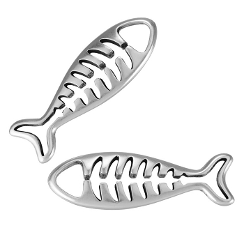 Fish Pendant Antique Silver - per 10 pieces