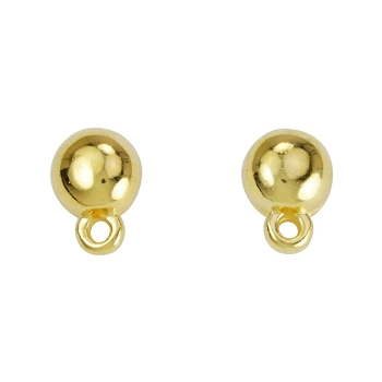Sphere Post Earring with Loop SHINY GOLD - per 2 pieces