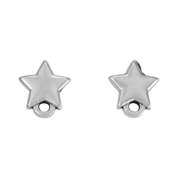 Star Post Earring with Loop ANT SILVER - per 2 pieces
