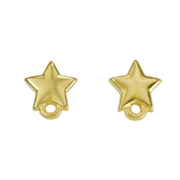 Star Post Earring with Loop SHINY GOLD - per 2 pieces