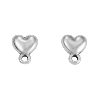 Heart Post Earring with Loop ANT SILVER - per 2 pieces