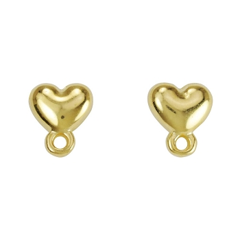 Heart Post Earring with Loop SHINY GOLD - per 2 pieces