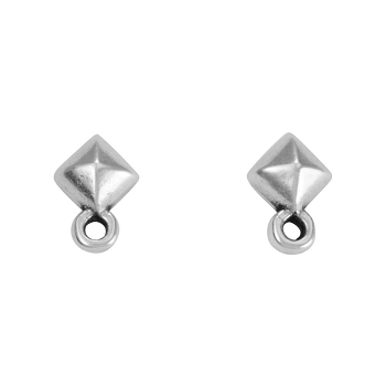Diamond Post Earring with Loop ANT SILVER - per 2 pieces