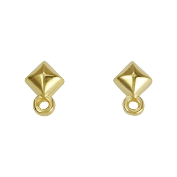 Diamond Post Earring with Loop SHINY GOLD - per 2 pieces