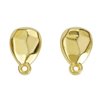 Faceted Teardrop Post Earring with Loop SHINY GOLD - per 2 pieces