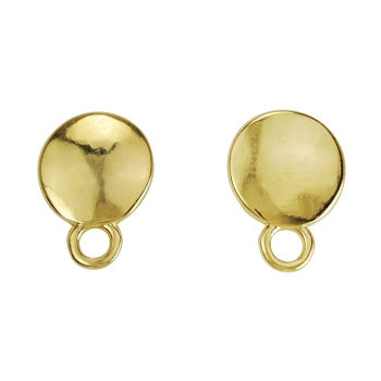 Disc Post Earring with Loop SHINY GOLD - per 2 pieces