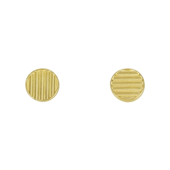 Lined Disc Post Earring SHINY GOLD - per 2 pieces
