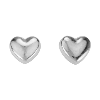 Puffed Heart Post Earring ANT SILVER - per 2 pieces