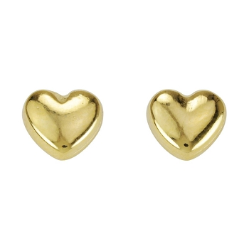 Puffed Heart Post Earring SHINY GOLD - per 2 pieces