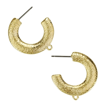 Hammered Hoop Post Earring with Loop SHINY GOLD - per 2 pieces