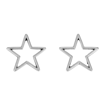 Star Wire Post Earring ANT SILVER - per 2 pieces