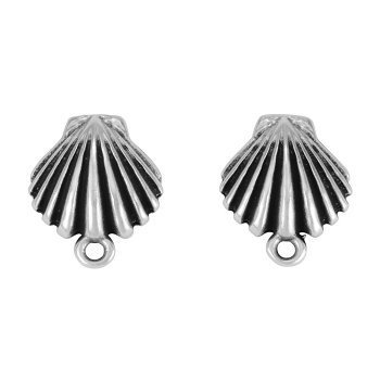 Clamshell Post Earring with Loop ANT SILVER - per 2 pieces