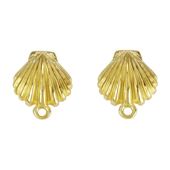 Clamshell Post Earring with Loop SHINY GOLD - per 2 pieces