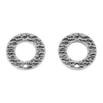 16mm Etched Circle Post Earring with Hole ANT SILVER - per 2 pieces