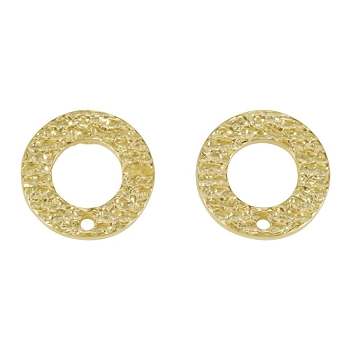 16mm Etched Circle Post Earring with Hole SHINY GOLD - per 2 pieces