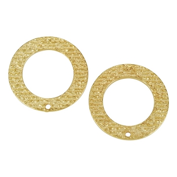 27mm Etched Oval Post Earring with Hole SHINY GOLD - per 2 pieces
