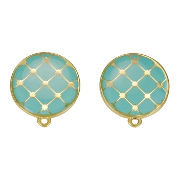 Round Tile Earring Post Gold Epoxy - Aqua - Per 2 Pieces