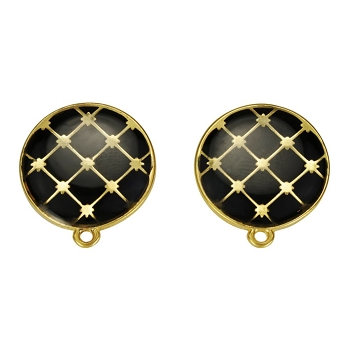Round Tile Earring Post Gold Epoxy - Black - Per 2 Pieces