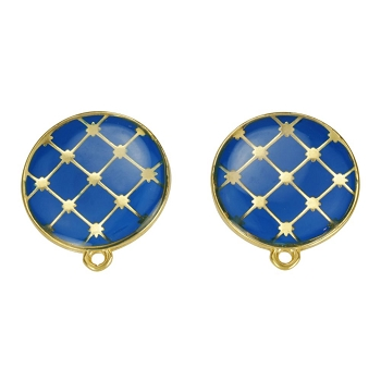 Round Tile Earring Post Gold Epoxy - Blue - Per 2 Pieces