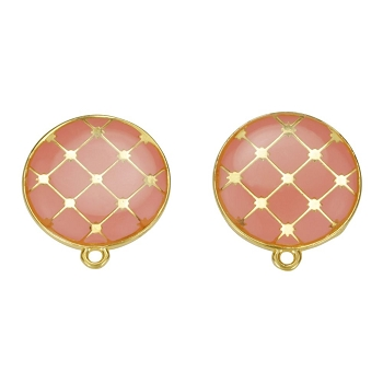 Round Tile Earring Post Gold Epoxy - Coral - Per 2 Pieces