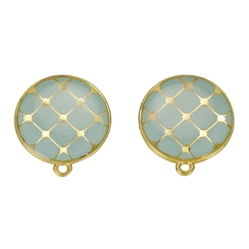 Round Tile Earring Post Gold Epoxy - Pale Jade - Per 2 Pieces