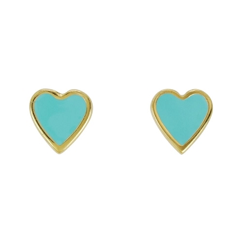 Heart Earring Post Gold Epoxy - Aqua - Per 2 Pieces